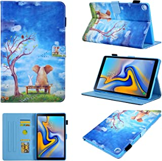 Galaxy Tab A 10.1 2019 Case, T510/T515 Case, Chgdss PU Leather Folio Multi-Angle Viewing/Card Slots, for Galaxy Tab A 10.1 Inch Tablet Model SM-T510 SM-T515 2019 Release - Elephant & Rabbit
