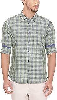 BASICS Slim Fit Mineral Green Checks Shirt