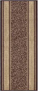 Custom Size Brown Gold Beige Bordered Rubber Backed Non-Slip Hallway Stair Runner Rug Carpet 22 inch Wide Choose Your Length 22in X 11ft
