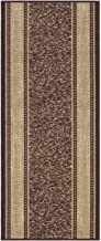 Custom Size Brown Gold Beige Bordered Rubber Backed Non-Slip Hallway Stair Runner Rug Carpet 22 inch Wide Choose Your Length 22in X 7ft