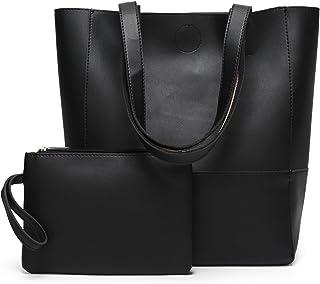 DCCN Damen Handtaschen Shopper PU Leder Messenger Bags Einkaufstasche mit EIN klein Beutel Geldbörse Schwarz
