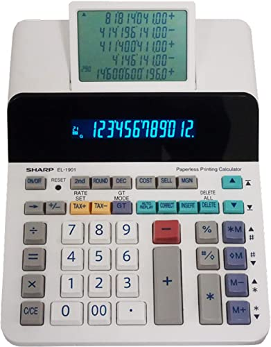 Sharp EL-1901 Paperless Printing Calculator with Check and Correct, 12-Digit LCD Primary Display, Functions the Same ...