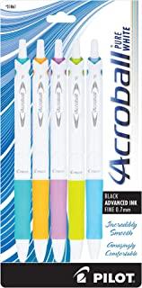 PILOT Acroball PureWhite Advanced Ink Refillable & Retractable Ball Point Pens with Turquoise/Orange/Purple/Lime/Blue Accents, Fine Point, Black Ink, 5-Pack (31861)