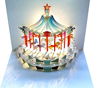Share in the Birthday Fun with this Charming Happy Birthday Carousel 3D Pop Up Greeting Card | Shadywood Designs | envelope included