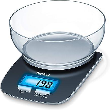 Beurer KS 25 - Balanza de cocina con bol transparente, 3 kg/1 gr, función auto-tara
