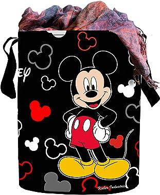 Kuber Industries Disney Print Round Waterproof Cotton Laundry Bag, Toy Storage, Laundry Basket Organizer 45 L (Black)-KUBMART
