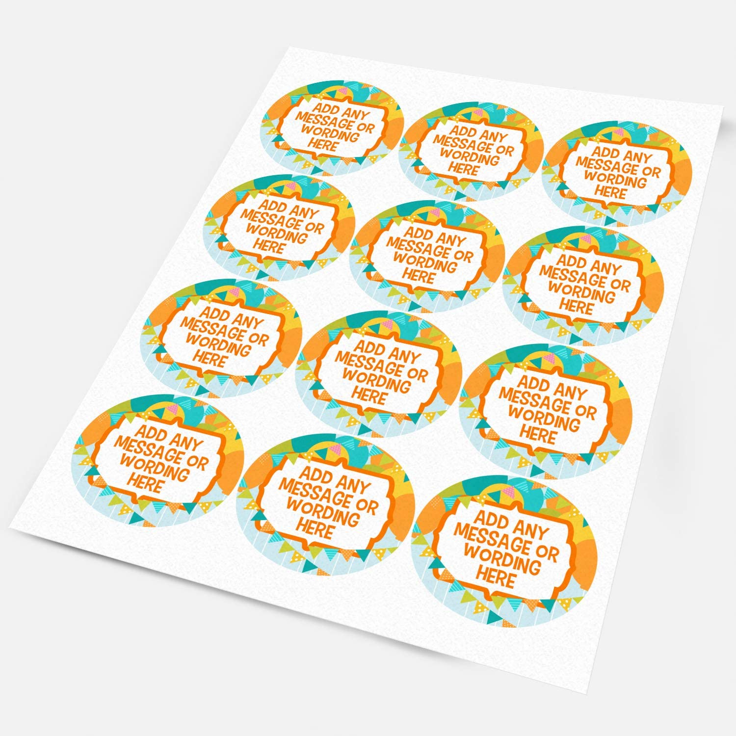 Happy Birthday Party Balloons /& Bunting Custom Personalised Sticker Labels Wax Melt Party Favor Sweet Cone Candle Oil 3.5 cm x 140 // 4, A4 Sheets