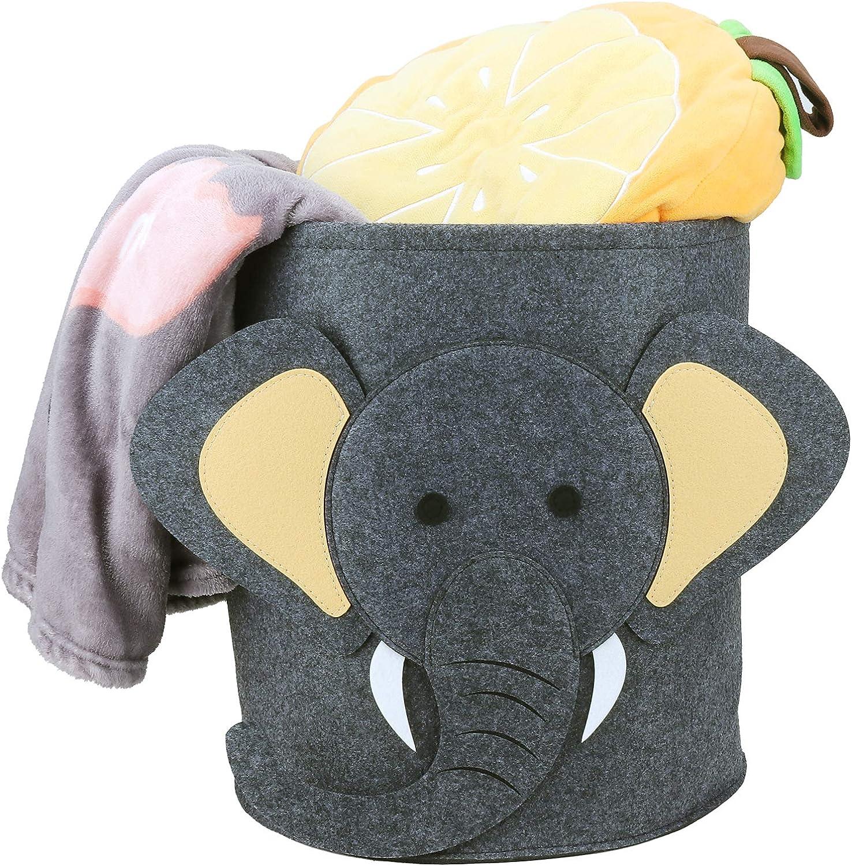 Cesta de la Colada de Fieltro Redondo Plegable Cubo de Almacenamiento para Ropa Sucia Elefante GUBOOM Cesta de Lavander/ía de Fieltro Art/ículos Varios para Beb/és Peluches