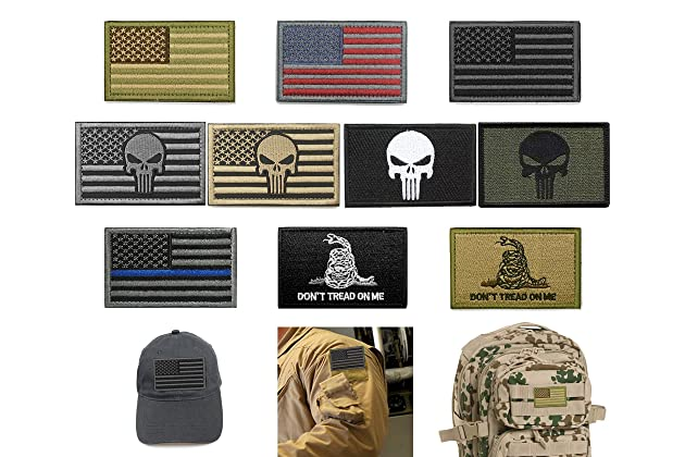 Bundle 10 Pieces US Flag Velcro Patch American Flag Punisher Velcro Patches  Tactical Military Morale Patch Set d4737f2842a