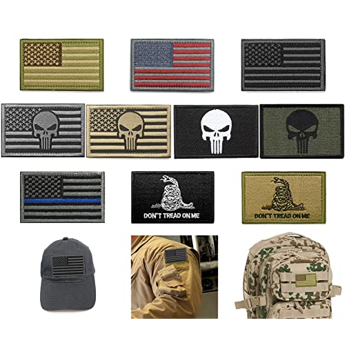 Bundle 10 Pieces US Flag Velcro Patch American Flag Punisher Velcro Patches  Tactical Military Morale Patch 23eb3bac647