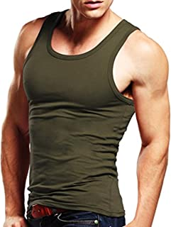 Men Tank Top Sleeveless A-Shirt Crew-Neck