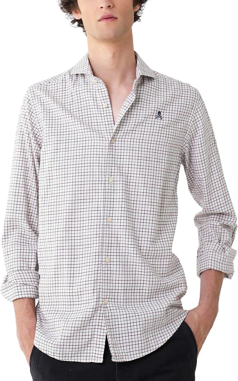 Scalpers Camisa Cuadros ALGODÓN - Burgundy / 42: Amazon.es: Ropa