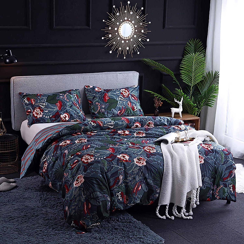 Dark Blue Boho Halloween Bedding Sets Super popular specialty store Floral Bi King 102X90 Popular brand Size
