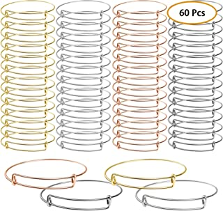 UPINS 60 Pcs Expandable Bangle Bracelets Adjustable Wire Bracelets, Blank Bangles for DIY..