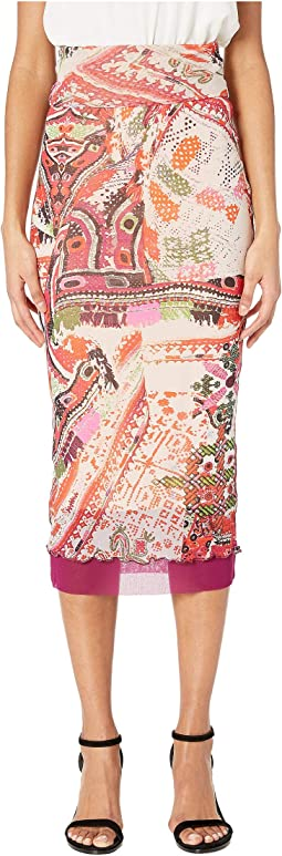 Cross Stitch Tulle Print Layered Pencil Skirt