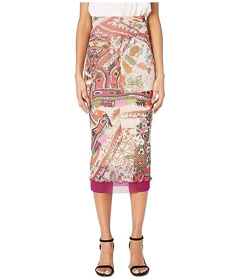 FUZZI Cross Stitch Tulle Print Layered Pencil Skirt