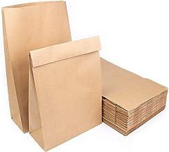 Extiff Lot de Sacs Pochettes Papier Kraft sans poignée 34,5x20x9cm Sachets Recyclables pour Alimentaire ou Objets (50)