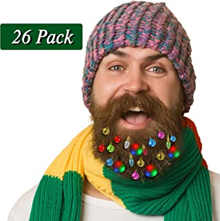 26 Pieces Light Up Beard Ornaments, 4 Pieces Beard Lights Beard Bauble Ornaments, 12 Pieces Sounding Jingle Bells,10 Pieces Colorful Water Drop Facial Hair Baubles, Christmas New Year Festival Gift
