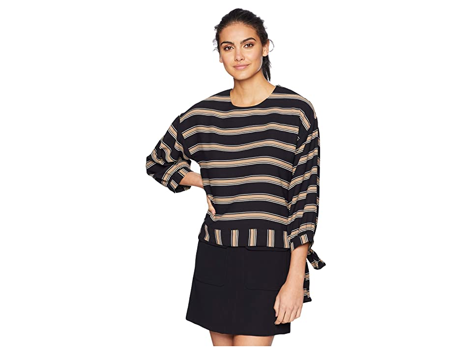 J.O.A. Stripe Top (Black Multi) Women