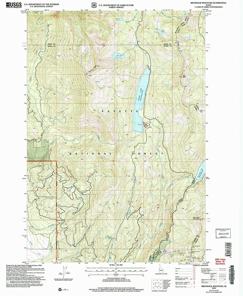 YellowMaps Brundage Mountain ID topo map, 1:24000 Scale, 7.5 X 7.5 Minute, Historical, 2004, Updated 2007, 26.9 x 22 in