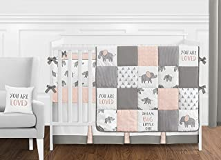 Sweet Jojo Designs Blush Pink, Grey and White Watercolor Elephant Safari Baby Girl Crib Bedding Set with Bumper - 9 Pieces