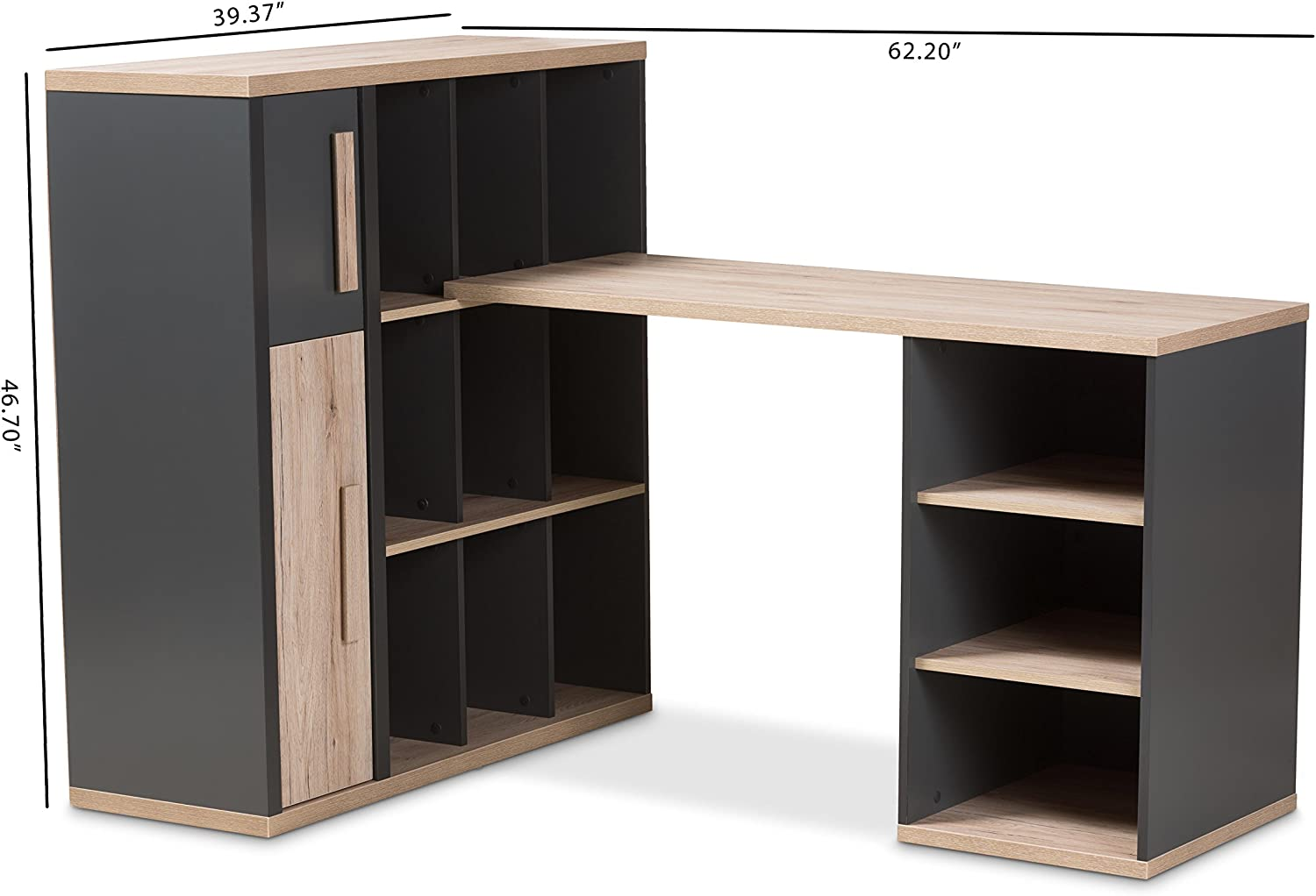 Buy Baxton Studio Panni Modern Study Desk with Built in Shelving ...