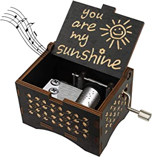 Sponsored Ad - Dream Loom Wooden Music Box, Hand Cranked Laser Engraved Small Musical Boxes for Kids, Play You are My Suns...
