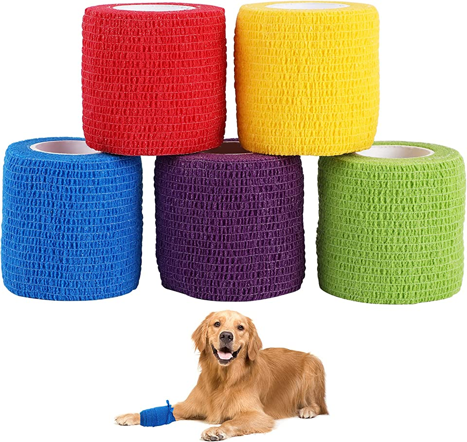 5 Rolls Vet Wrap Pet Self-Adhesive Bandage Cohesive Tapes for Animals Assorted Color