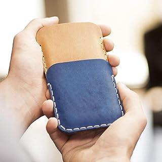 Café claro y Azul Estuche Billetera Funda De Cuero para Samsung Galaxy Note 8 con bolsillos para tarjetas de crédito. Estuche de manga. Cosido a mano. Note8