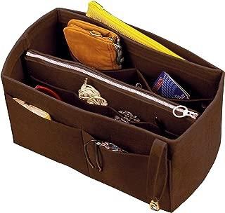 [Fits IENA MM, Dark Brown] Felt Organizer (with Detachable Middle Zipper Bag), Bag in Bag, Wool Purse Insert, Customized Tote Organize, Cosmetic Makeup Diaper Handbag