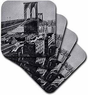 3D Rose Vintage New York City Brooklyn Bridge Circa 1890S Magic Lantern Ceramic Tile Coasters, Multicolor