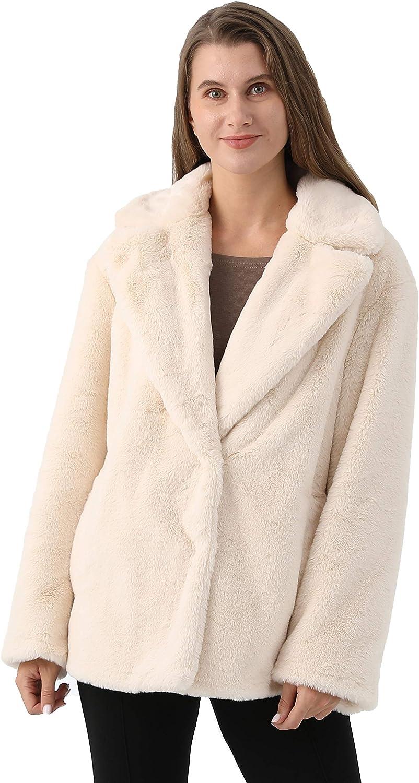 Women Luxury Faux Rabbit Coat with Lapel Collar