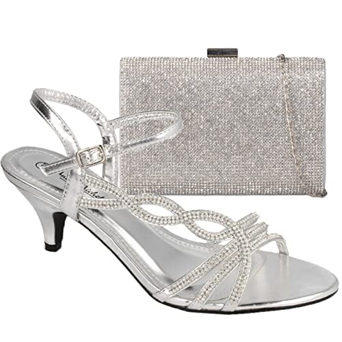 3455222c375ccc Absolutely Gorgeous Boutique Ladies Diamante Low Mid Kitten Heels Ankle  Strap Shoes Sandals with Matching Handbag
