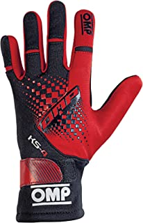 OMP KS-4 Karting Gloves (Size Medium, Red/Black)