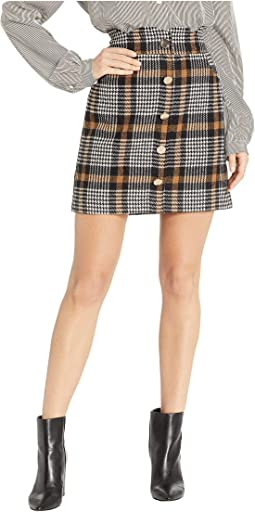 Houndstooth Scalloped Waist Mini Skirt