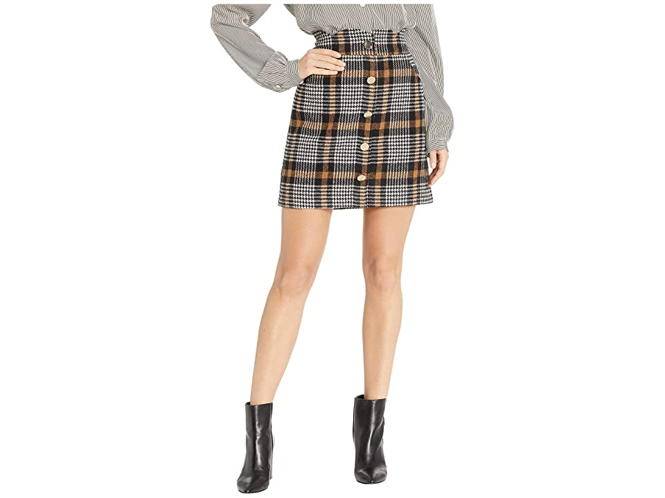 J.O.A. Houndstooth Scalloped Waist Mini Skirt (Brown Plaid) Women