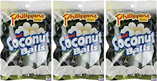 Philippine Brand Dried Coconut Balls Chewy Fruit Snack, 3 Pack, 3.53-Ounces Pouches