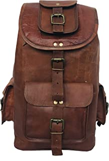 DHK 24'' Genuine Leather Vintage Handmade Casual College Day-Pack Cross Body Messenger Laptop Backpack Travel Rucksack