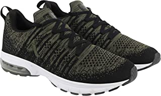 ATHLEO by Action Men Synthetic Fabric TPR Sole Lace Up Sports Shoes | Olive-Black