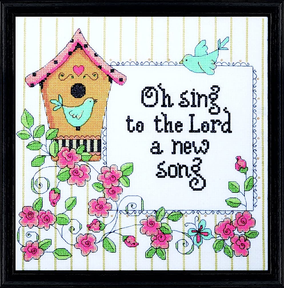 Tobin DW2794 14 Count Heartfelt a New Song Counted Cross Stitch Kit, 10 by 10-Inch