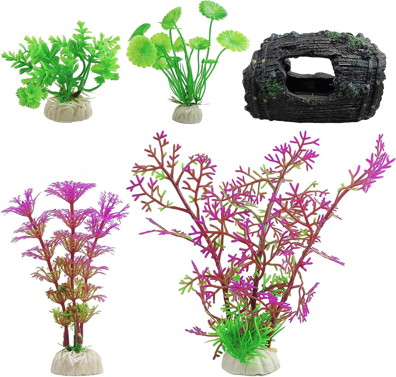 5 Pack Aquarium Decorations Max 60% OFF Fish Price reduction Tank Br Plastic Plant and Rocks