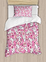 Anime Duvet Cover Set Twin Size Funny Kawaii Illustration With Rabbits Funky Cute Animals Bunnies Kids Humor Theme Print Style,Decorative 2 Piece Bedding Set With 1 Pillow Sham,White Pink