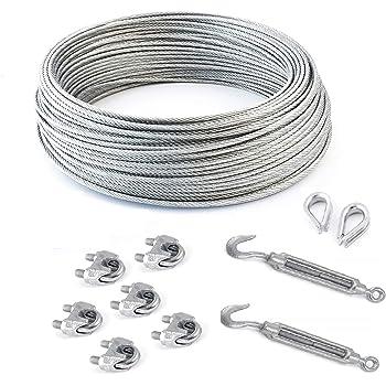 6 serre-c/âbles /étrie et 2 tendeurs a cage crochet-oeil SET 30m c/âble acier galvanis/é 6x19 6mm