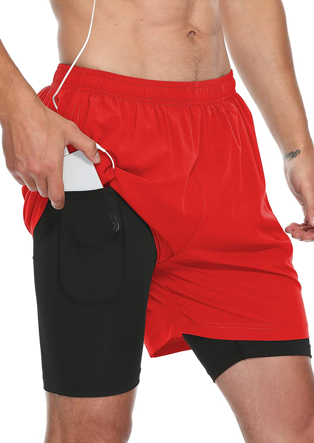 Susclude Men's 2 in 1 Max 84% OFF Workout Shorts Gym Athletic Running New popularity