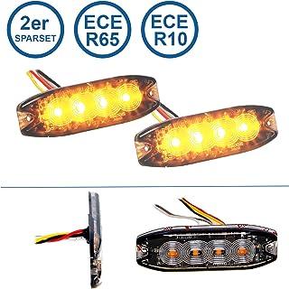 LED MARTIN® 2er Sparset R65 Blitzmodul SF4   super flach   12V 24V   mit ECE R65 Zulassung   Als Frontblitzer, Stauwarner, Heckwarnanlage für PKW, LKW geeignet.