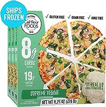 Cali'flour Foods Pizza (Supreme Veggie, 3 Pizzas) - Fresh Cauliflower Base   Low Carb, Gluten and Grain Free   Keto Friendly
