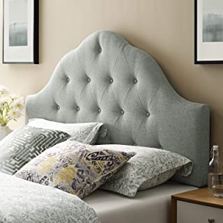 Modway Sovereign Tufted Button Linen Fabric Upholstered Queen Headboard in Gray