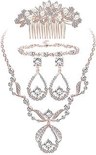 ORAZIO Crystal Bridal Jewelry Set for Prom Wedding Bride Bridesmaids Vintage Rhinestone Necklace Earrings Bracelet Comb fo...
