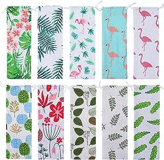 Aneco 10 Pieces 11.7 Inch Straw Cutlery Carrying Case Reusable Cotton Hawaiian Style Linen Portable Bag