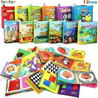 Mi Primer Libro, teytoy 12pcs Libros para Bebés Tela no Tóxica para Bebés Actividad Crinkle Libros Blandos para Bebés Niño...